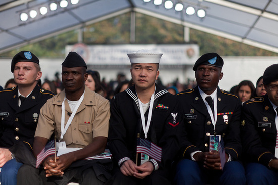 troops become citizens on liberty island in celebration of 125th statue of liberty anniversary