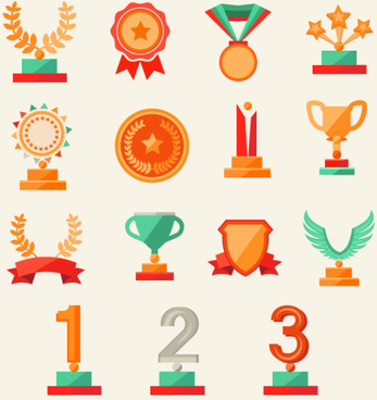 trophy and medals flat style vector