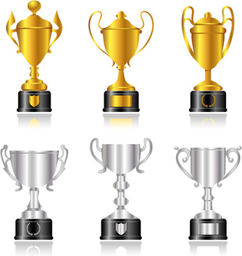 trophy cup and medals vector set