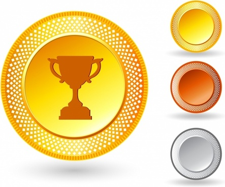 Trophy icon on button with metallic border