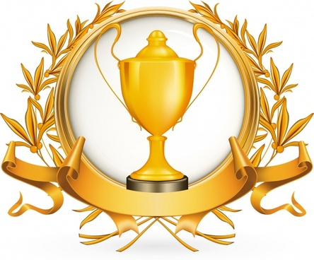 award logotype trophy wreath ribbon decor 3d golden