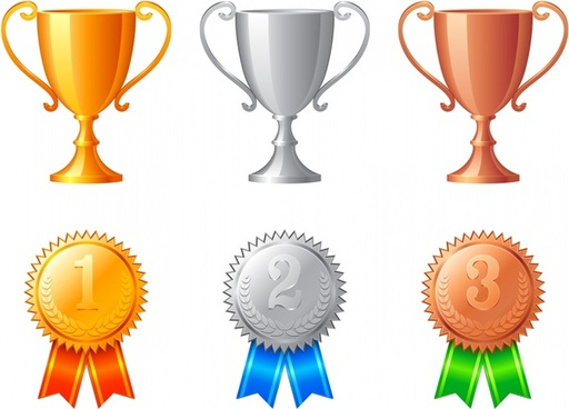 awards design elements trophy medal icons shiny color