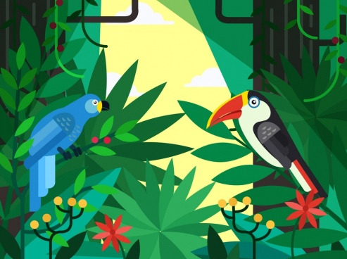 tropical background forest plants parrots icons decor
