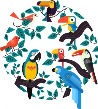 tropical background leaves birds icons circle layout