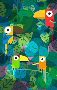 tropical background leaves parrot icons colorful classical design