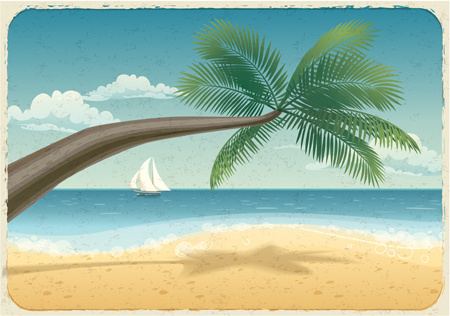 tropical beach travel background art
