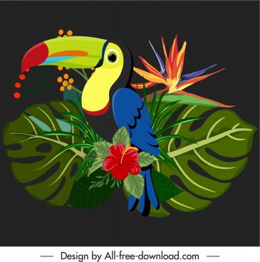 tropical decor element colorful parrot botany leaves sketch