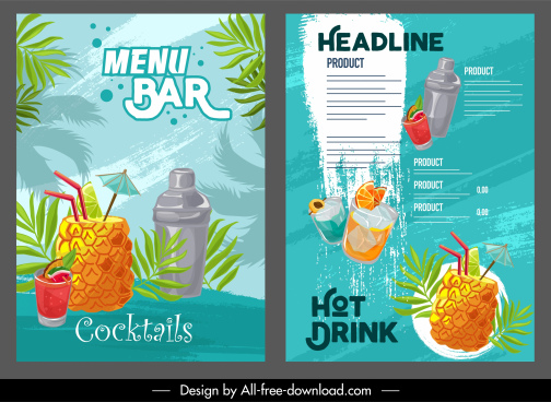 tropical drink menu templates colorful classic grunge decor