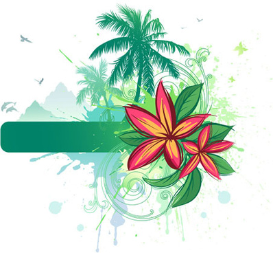 tropical elements backgrounds vector