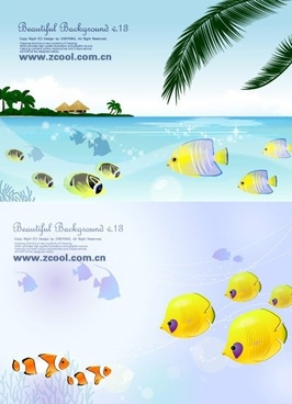 tropical fish theme vector