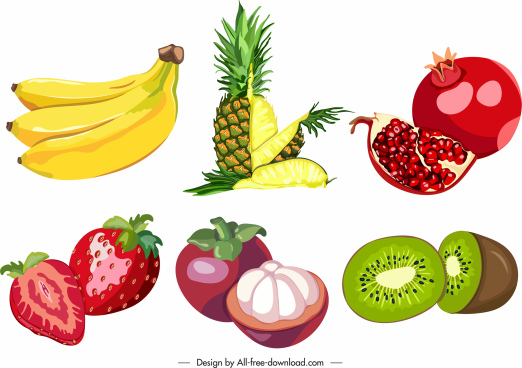 tropical fruits icons colorful classic cut sketch