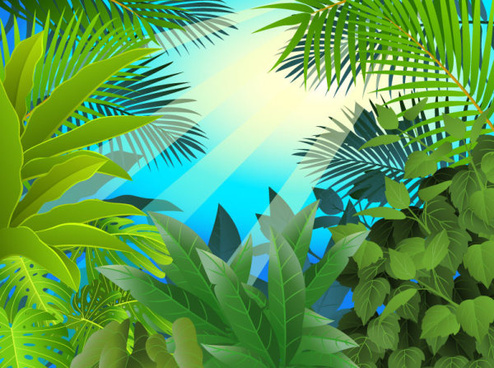 tropical green leaf elements vector background