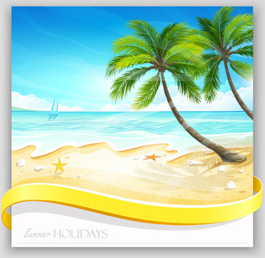 Tropical islands holiday background design vector