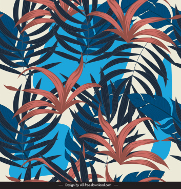tropical leaves background colored classical handdrawn