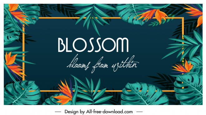 tropical nature background blossom flowers leaves decor