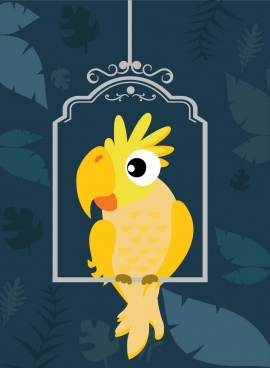 tropical parrot background flat design leaves decoration