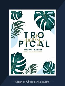 tropical party poster elegant classical leaf decor