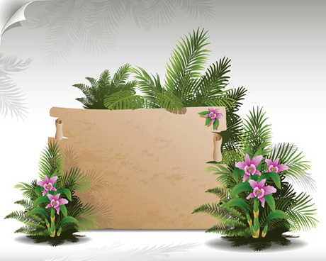 tropical plants with billboard vector design