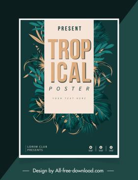tropical poster template elegant dark classical leaves decor
