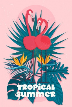 tropical summer banner flamingo leaves icons classical design
