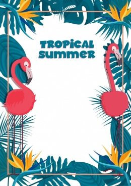 tropical summer banner template flamingo leaves border decor