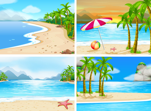 tropical travel sea background vector