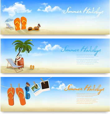 tropical vacation creative banner vector