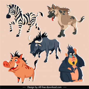 tropical wild animals icons colored cartoon sketch