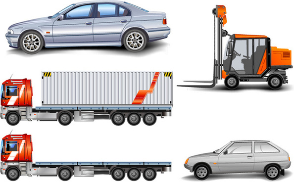 truck and car forklift design vector