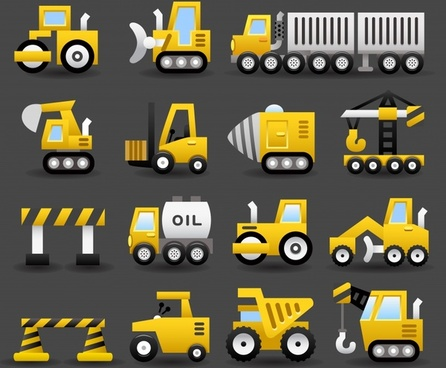 truck bulldozer transport icons vector