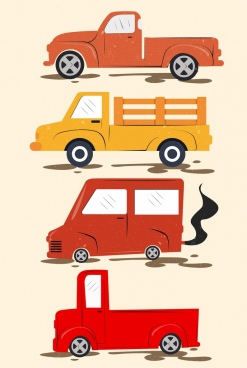 truck icon sets flat retro colored design