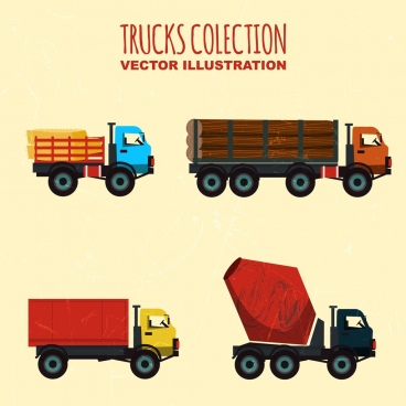 truck icons collection various colored shapes