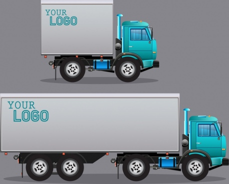 truck icons shiny colored design realistic decoration