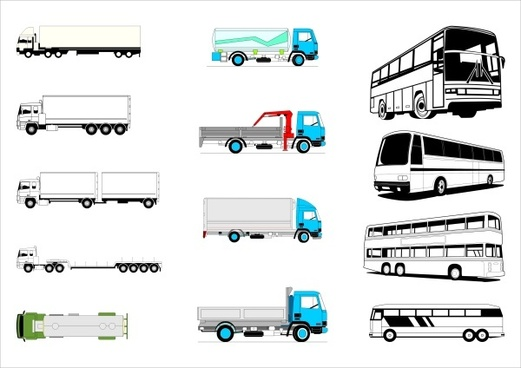 truck with bus vector illustration