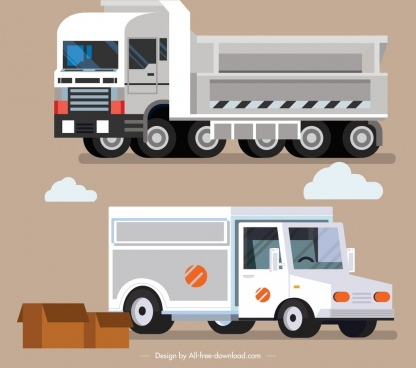 trucks icons colored modern 3d sketch
