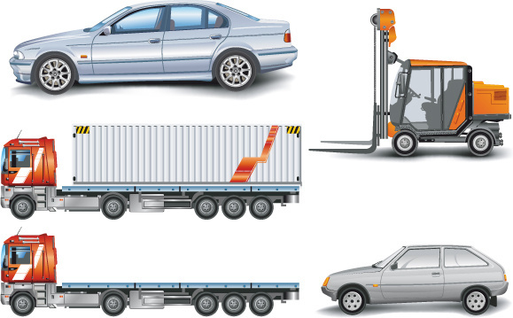 Trucks with car and forklift vector