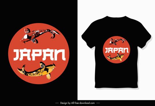 tshirt decorative template japan theme koi fishes sketch