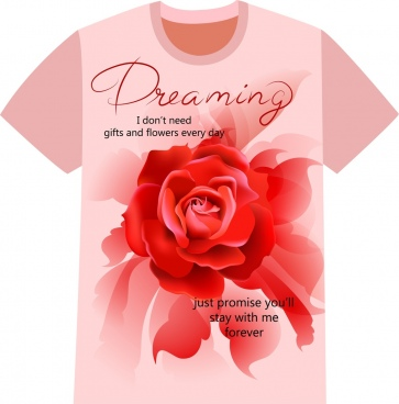 tshirt design red rose calligraphy decoration