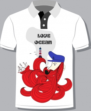 tshirt design template ocean theme white red decor