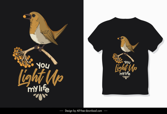 tshirt template bird species decor classical handdrawn