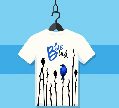 tshirt template birds branch icons decor