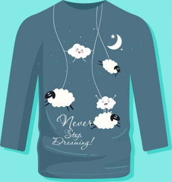 tshirt template dream theme cloud moon sheep icons
