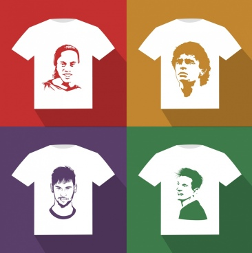 tshirt template football player faces icons decor