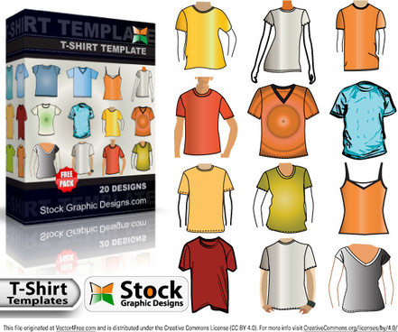 tshirt template free vector pack