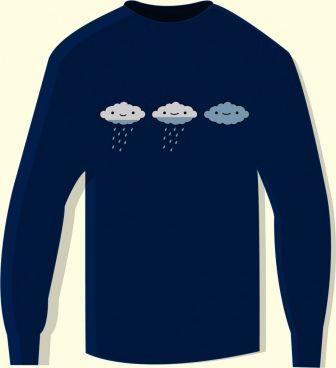 tshirt template weather design elements rain cloud icons