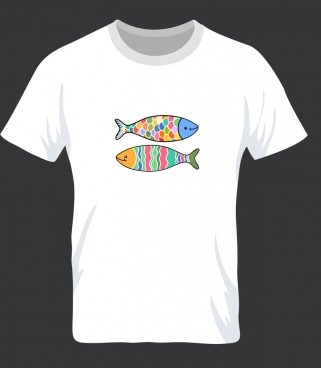 tshirt template white design colorful fish icons decor