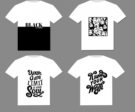 tshirt templates black white calligraphic faces decor