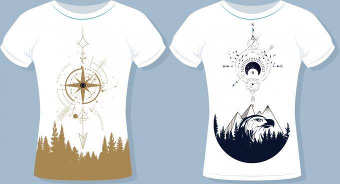tshirt templates mountain compass icons decor white design