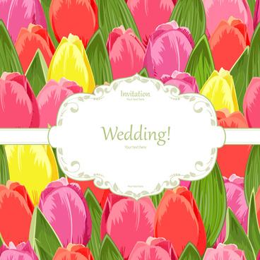 tulip seamless pattern card vector