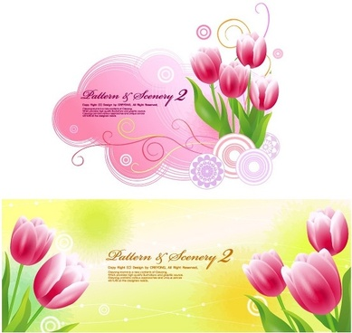 tulips and vector fantasy background